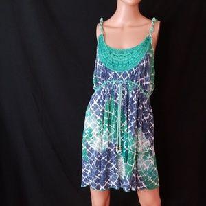 3/$12❤NINE WEST Beaded Rope Drawsting Midi Dress